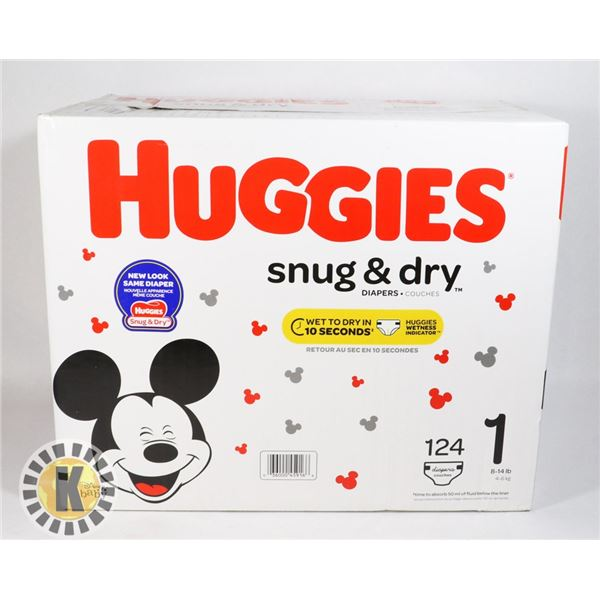 CASE OF HUGGIES SNUG AND DRY SIZE 1
