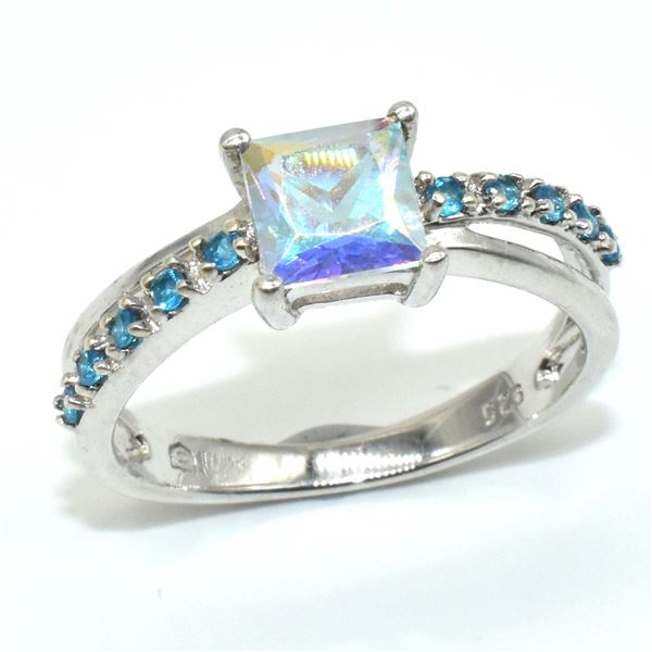 SILVER AZOTIC TOPAZ CZ(3.1CT) RHODIUM PLATED RING