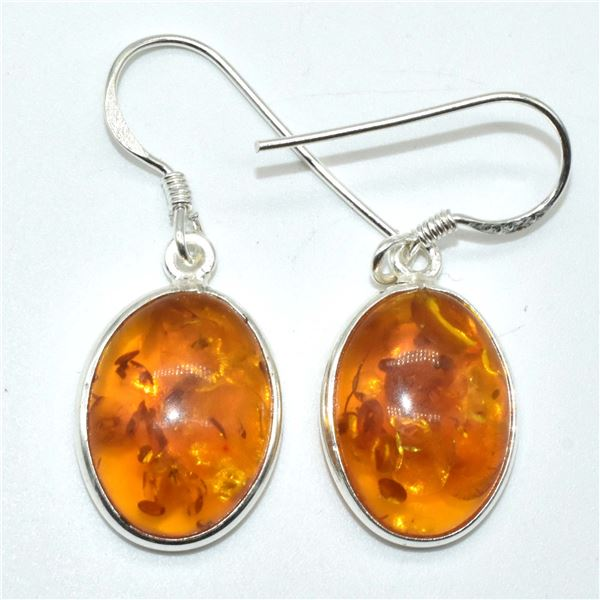SILVER RECONSTITUTED AMBER(3.05CT) EARRINGS