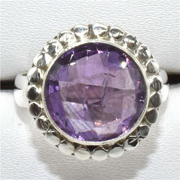 SILVER AMETHYST(6.1CT) RING (~WEIGHT 6.1G)