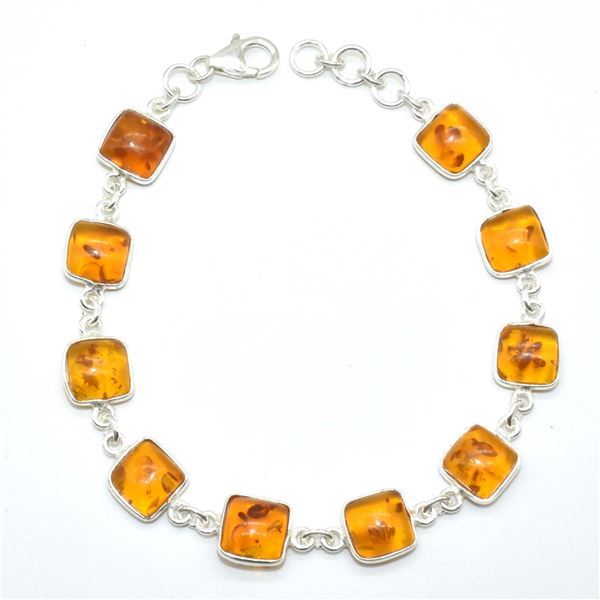 SILVER RECONSTITUTED AMBER(6.7CT) BRACELET