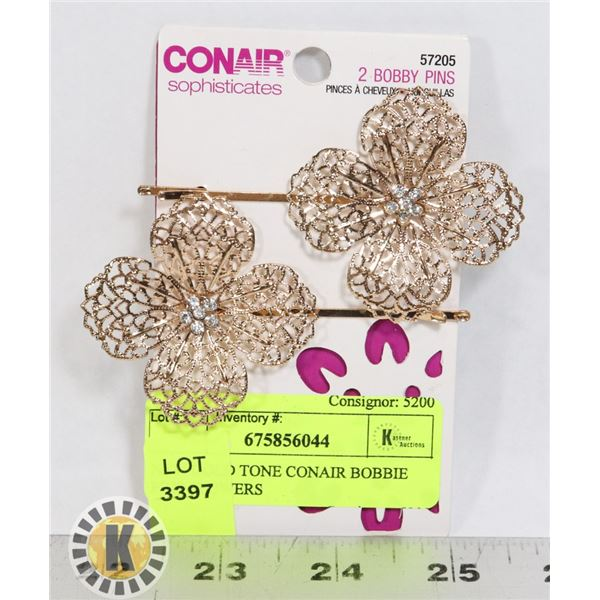NEW GOLD TONE CONAIR BOBBIE PINS FLOWERS