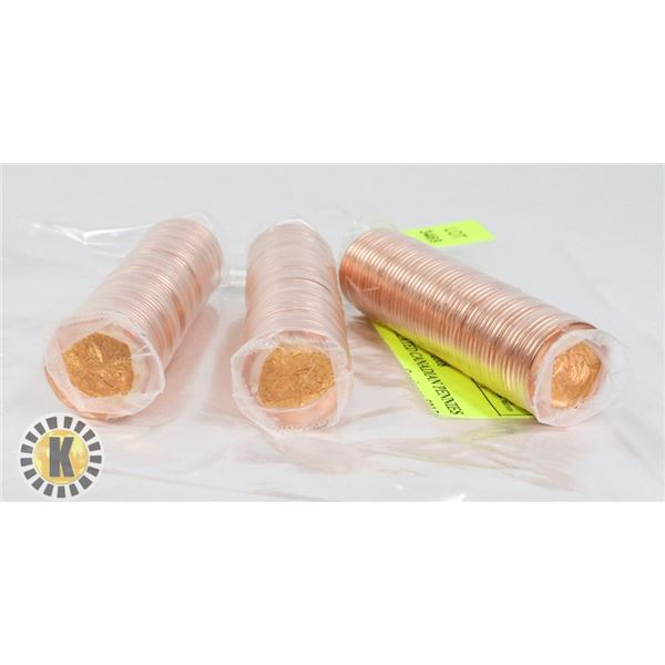THREE ROLLS OF 2008 UNCIRCULATED CANADIAN PENNIES