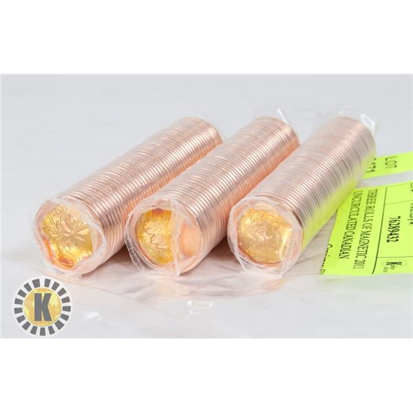 THREE ROLLS OF MAGNETIC 2011 UNCIRCULATED CANADIAN