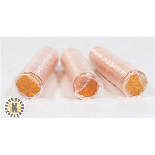THREE ROLLS OF 2007 UNCIRCULATED CANADIAN PENNIES