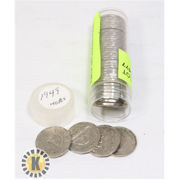 TUBE OF 1949 CANADIAN NICKELS
