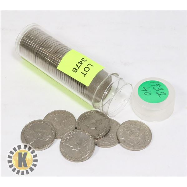 TUBE OF 1932 CANADIAN NICKELS