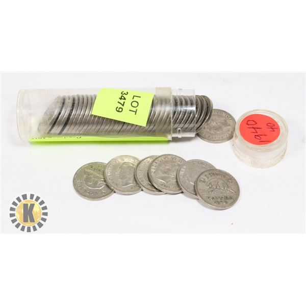 TUBE OF 1940 CANADIAN NICKELS