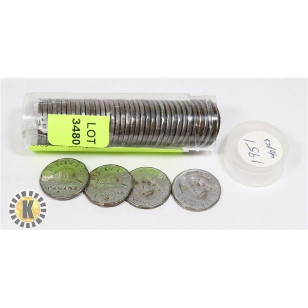 TUBE OF 1951 CANADIAN NICKELS