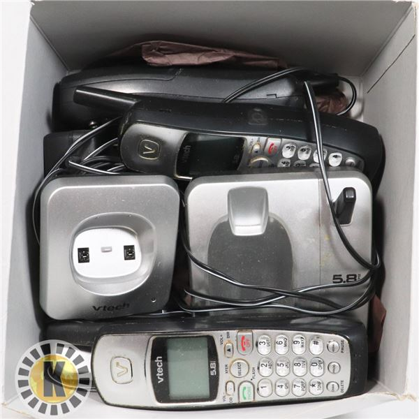 BOX OF VTECH PHONES AND CHARGERS