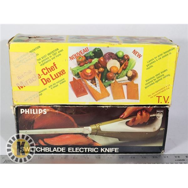 ROT-GELB MIRACLE CHEF& SWITCHBLADE ELECTRIC KNIFE