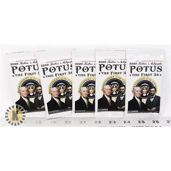 2020 POTUS PRESIDENTS OF USA X5 BOOSTER PACKS