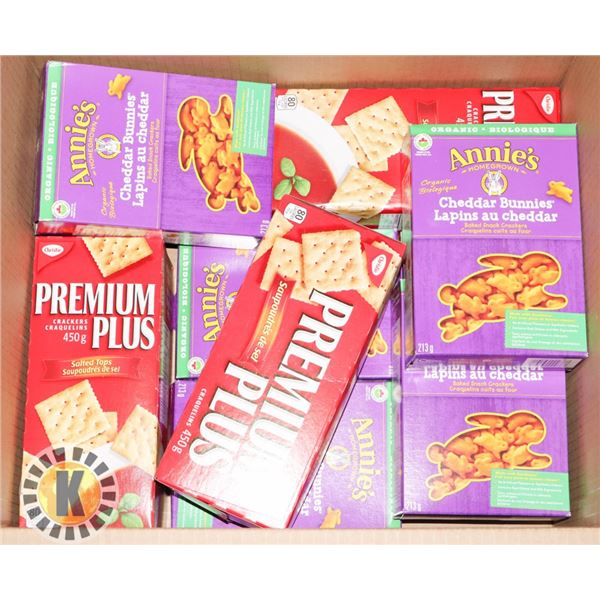 BOX OF SODA CRACKERS AND CHEDDAR BUNNIES CRACKERS