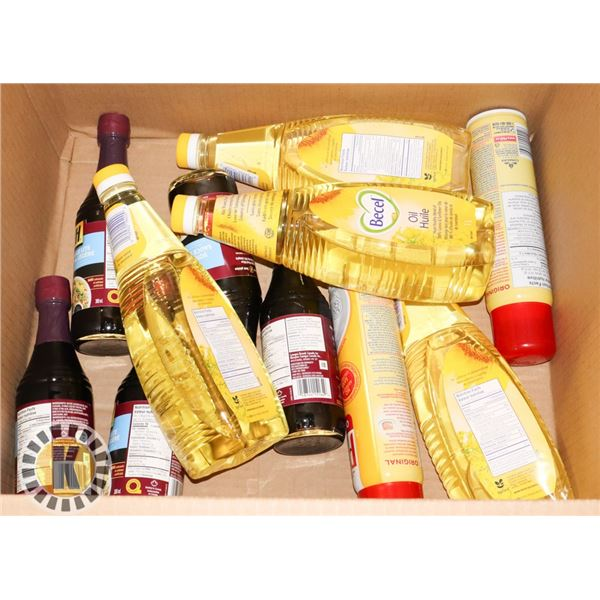 BOX OF CANOLA OIL AND SOY SAUCE