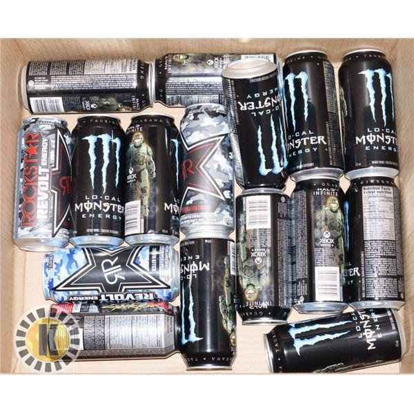 BOX OF MONSTER AND ROCKSTAR ENERGY DRINKS