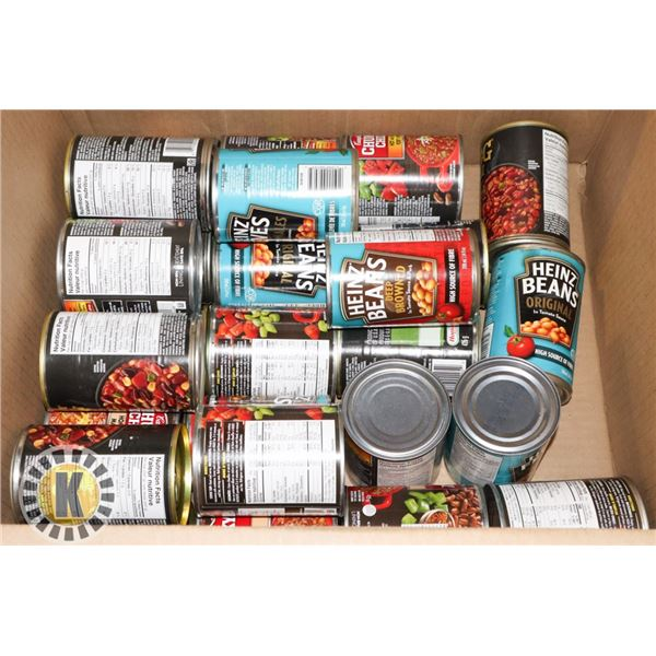 BOX OF CANNED CHILI AND BAKED BEANS