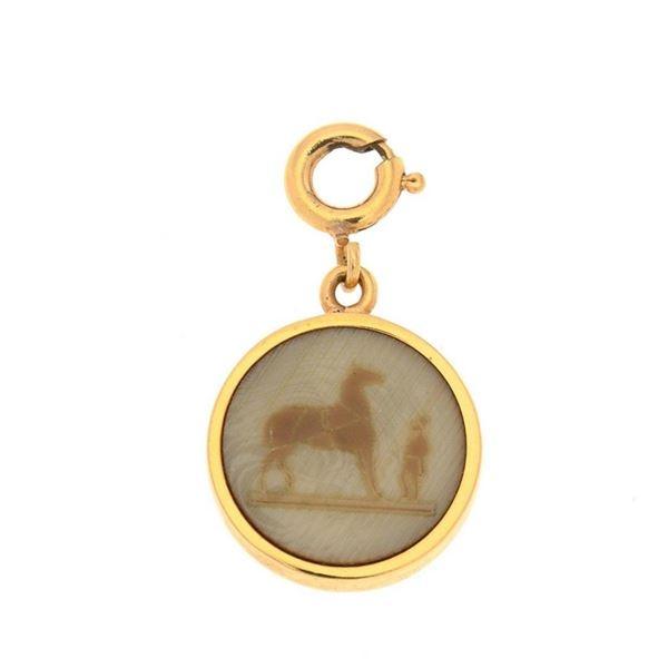 Hermes Gold Tone Corozo Top Pendant
