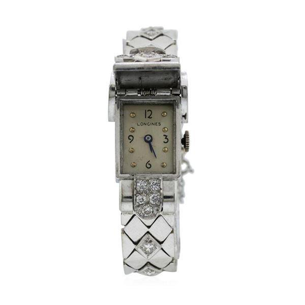 Longines Lady's Bracelet Watch - Platinum and 14KT White Gold