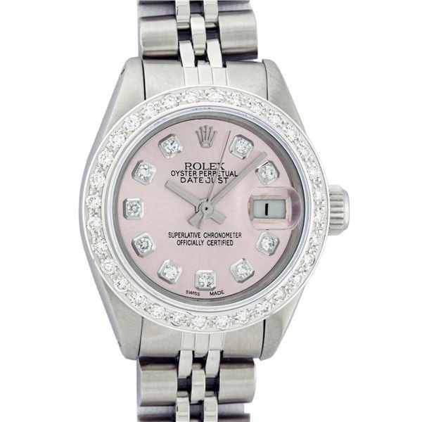 Rolex Ladies Stainless Steel Pink Diamond 18K Gold Bezel Datejust Wristwatch