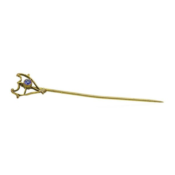 Blue Crystal Stick Pin - Yellow Gold Plated