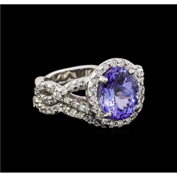 14KT White Gold 2.37 ctw Tanzanite and Diamond Ring and Guard
