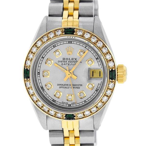 Rolex Ladies 2 Tone Grey Diamond & Emerald 26MM Datejust Wristwatch