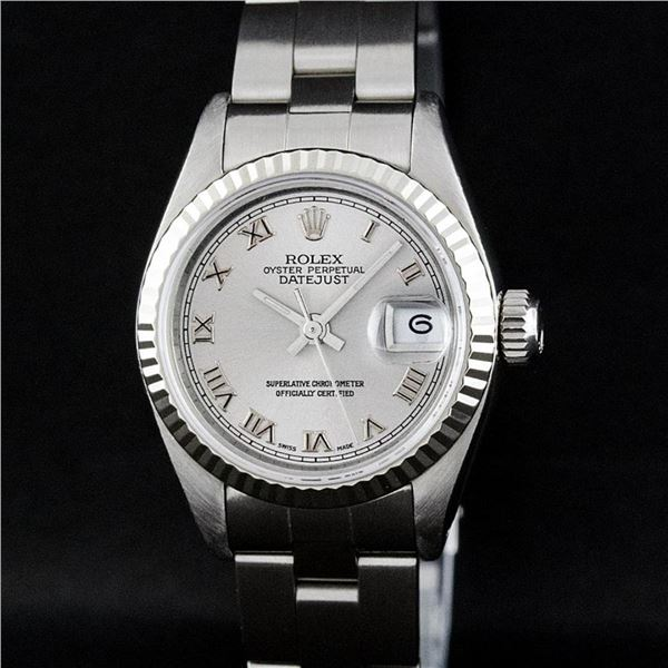 Rolex Ladies Stainless Steel Slate Grey 26MM Oyster Band Datejust Wristwatch