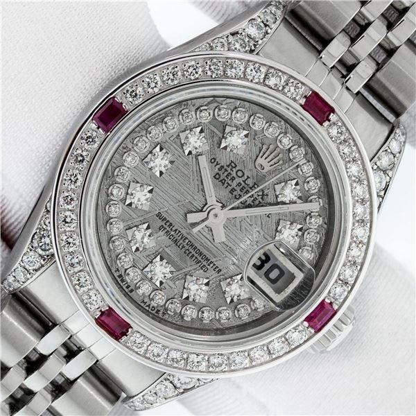 Rolex Ladies Stainless Steel Quickset Meteorite Diamond Lugs Jubilee Datejust Wr