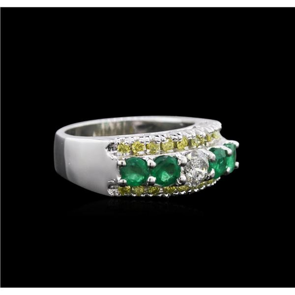 14KT White Gold 0.98 ctw Emerald and Diamond Ring