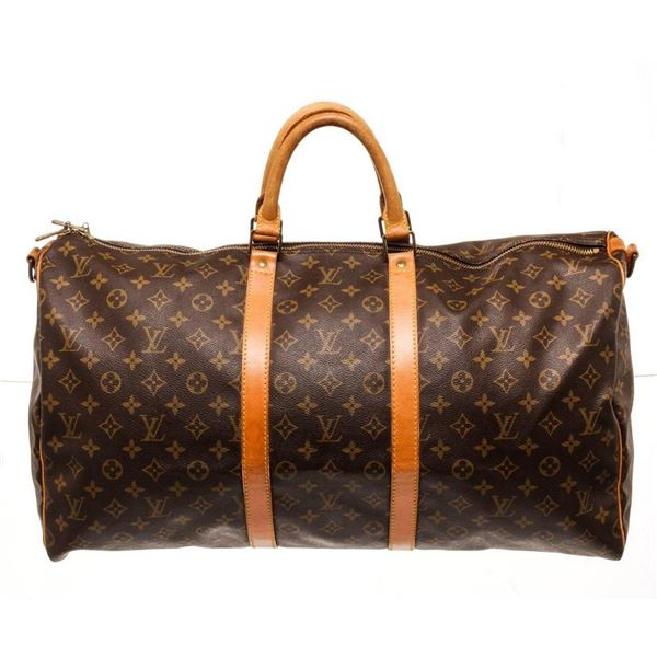 Louis Vuitton Brown Monogram Keepall 55cm Travel Bag