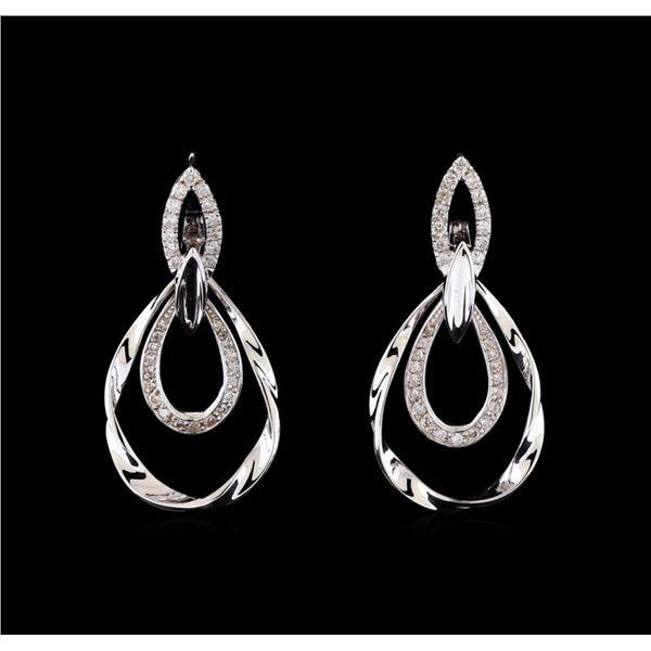 0.78 ctw Diamond Earrings - 14KT White Gold