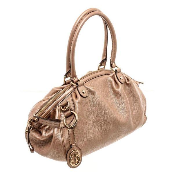 Gucci Metallic Pink Leather Large Sukey Tote Bag