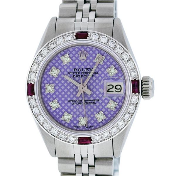 Rolex Ladies Stainless Steel Purple Stamp Diamond & Ruby Datejust Wristwatch