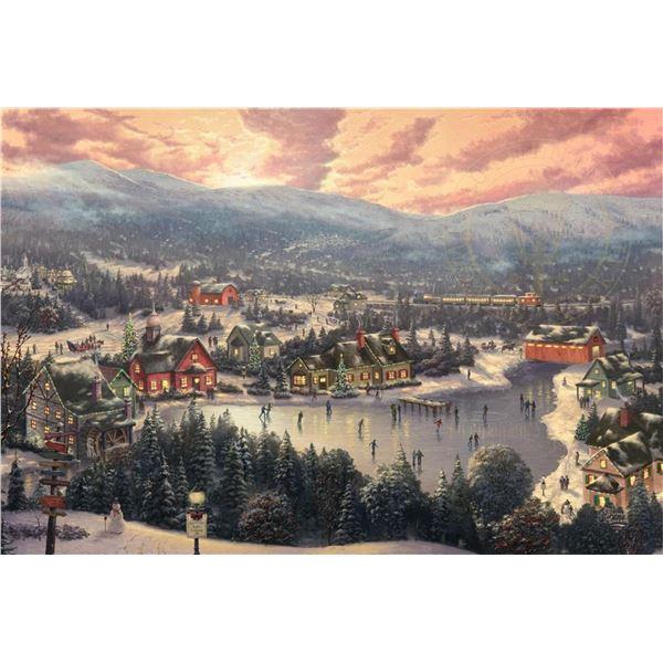 Sunset on Snowflake Lake by Thomas Kinkade
