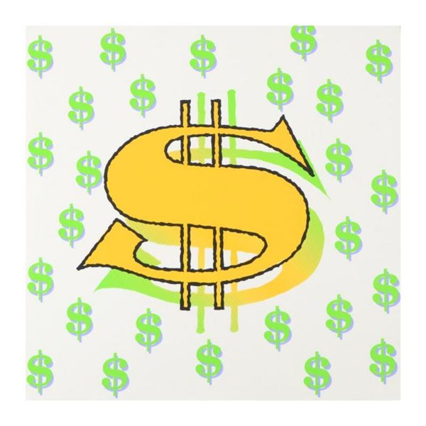 Dollar Sign (White) by Steve Kaufman (1960-2010)