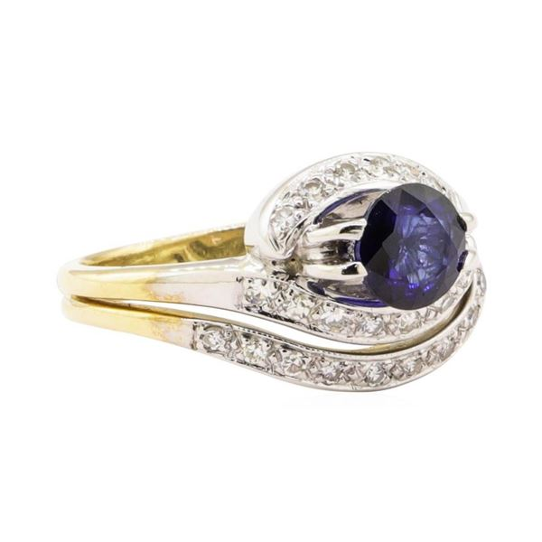 1.28 ctw Blue Sapphire And Diamond Ring And Attached Band - 14KT Yellow Gold