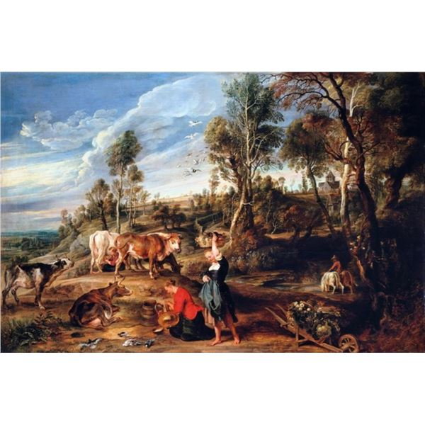 Sir Peter Paul Rubens - Milkmaids with Cattle in a Landscape