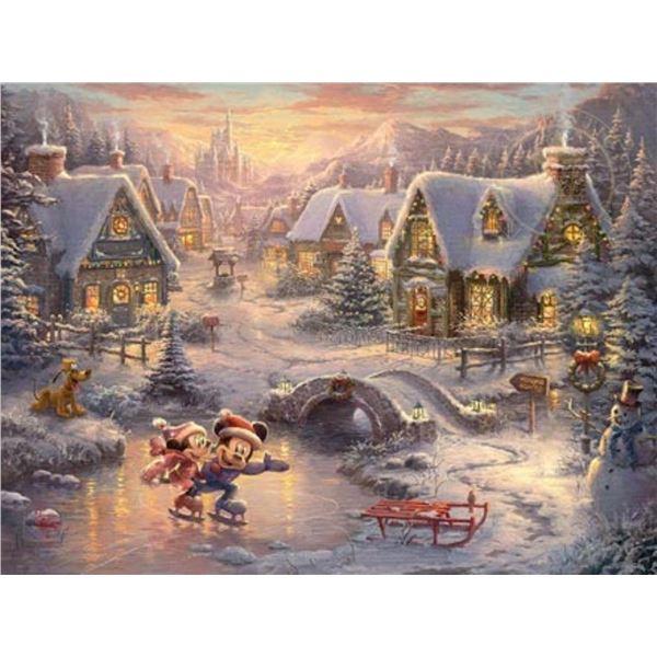 Mickey and Minnie Sweethrt Holiday by Thomas Kinkade