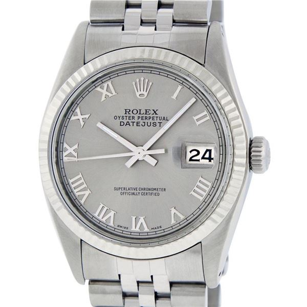 Rolex Mens Stainless Steel 36MM Slate Grey Roman Oyster Perpetual Datejust Wrist