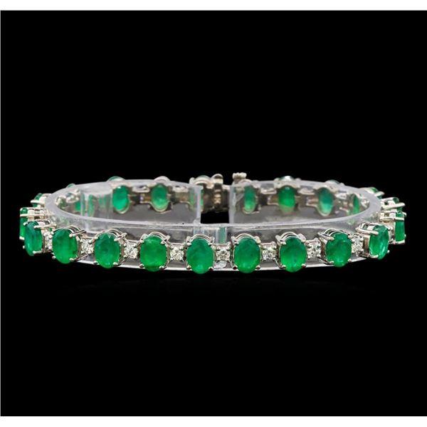 14KT White Gold 15.83 ctw Emerald and Diamond Bracelet