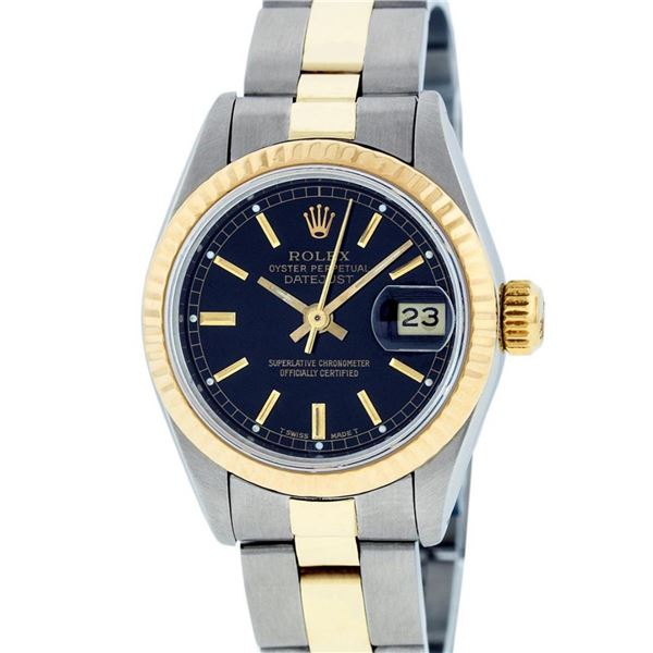 Rolex Ladies 2 Tone Black Index 26MM Oyster Band Fluted Datejust Wristwatch