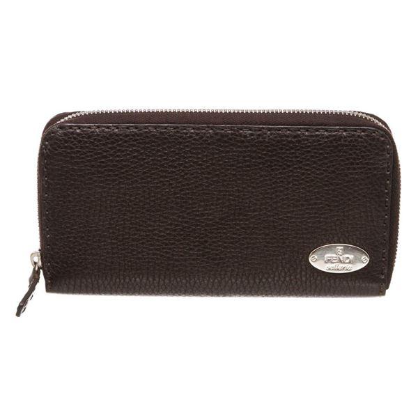 Fendi Dark Brown Salleria Leather Zip Around Wallet