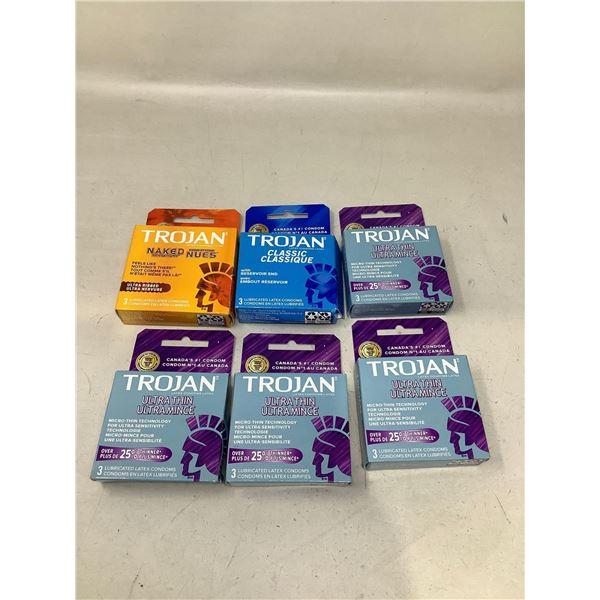 Assorted Lot Of Trojan Condoms Lot Of 6