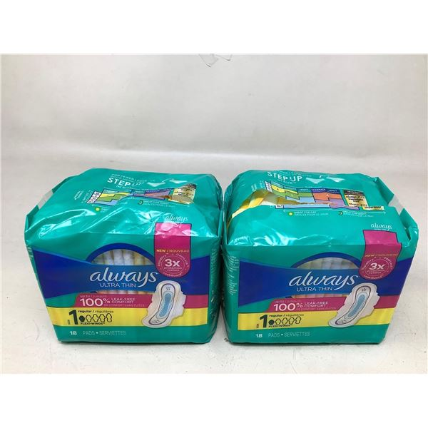 Always Ultra Thin Pads Lot Of 2