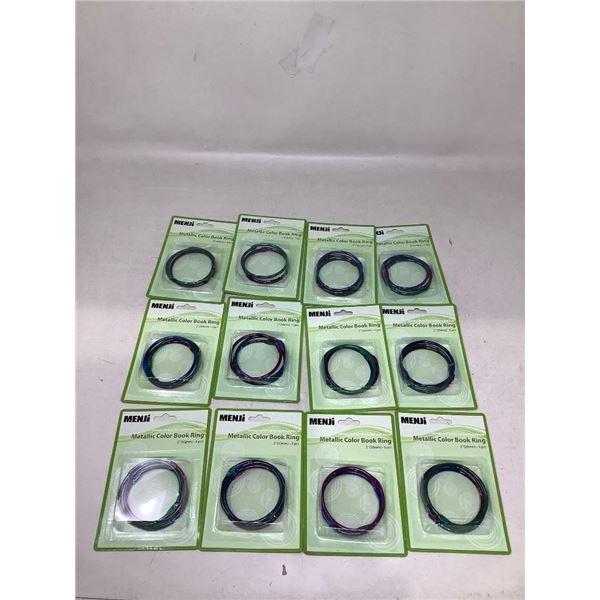 Menji Metallic Color Book Rings Lot Of 12