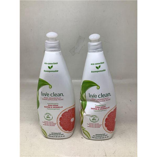 Live Clean Pink Grapefruit Dish Soap (2 X 740ML)
