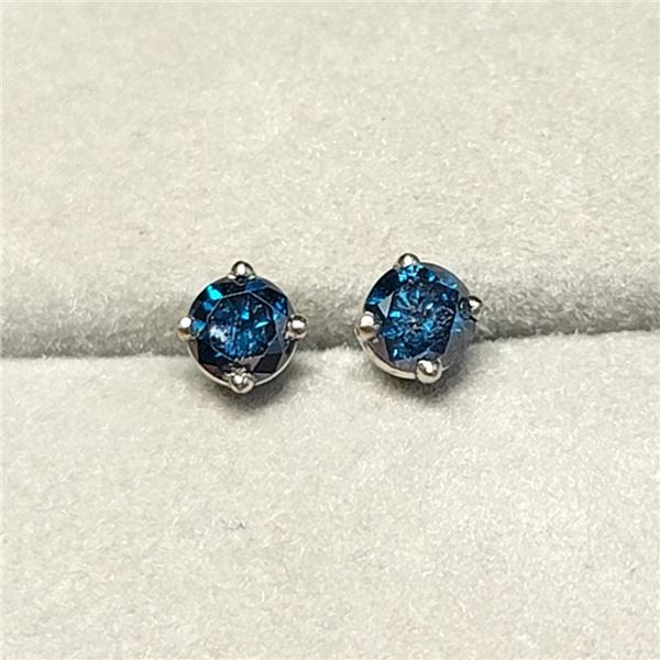 14K White Gold Diamonds (I-1, Blue, 0.38Ct) Earrings (~Size 0) (~length 0 inches) (~weight 0.56g), M