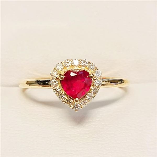 10K Yellow Gold Ruby(0.76ct) Diamonds (0.16Ct, Vs, F-G) Ring (~Size 7)(Ring is resizable for $40) (~