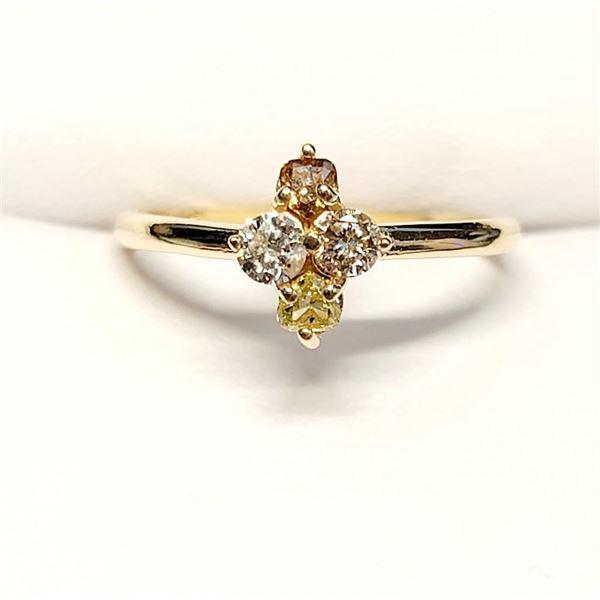 10K Yellow Gold Total Diamond (Rare Fancy Color(0.38ct) Diamond (0.18Ct, Si-1, Yellow) Diamond (0.2C