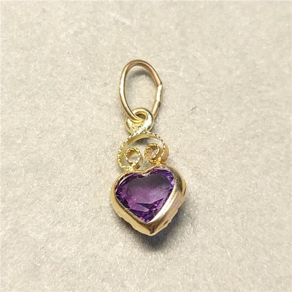 14K Yellow Gold Amethyst(0.45ct) Pendant (~Size 0) (~length 0 inches), Made in Canada, Suggested Ret
